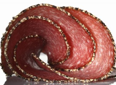 German Pepper Salami Sausage Sliced Twisted